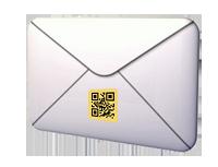 qr-code auf kuvert